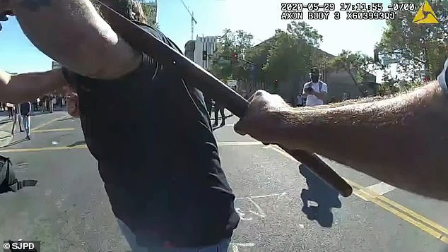 Footage also shows police tackling and beating a man who tried to grab an officer's baton after cops used projectiles to clear protesters from a San Jose intersection on May 29