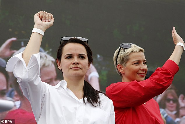 Opposition leaders Svetlana Tikhanovskaya (left) and Maria Kolesnikova (right) during a rally before the disputed August election