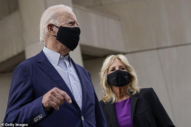 The Democratic nominee stopped to answer a few questions, asking his wife Jill (right) and surrounding aides where he was headed Tuesday. The Trump campaign already released the clip as a hit against Biden's sharpness