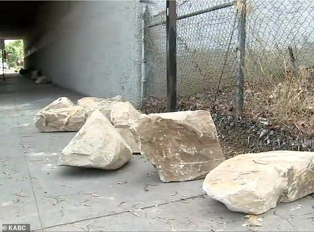 The placement of the boulders prompted outrage from local advocates for the homeless and other residents