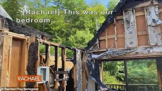 Devastation: Rachael Ray shared a clip showing the damage to her property in upstate New York on Sunday after a fire ripped through it on August 9