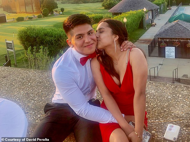 Peralta may never remember exactly what happened but his girlfriend Christina Lopez, 17, gave DailyMail.com an account of what she witnessed that day