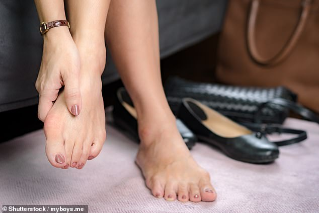 A bunion is a lump that forms on the base of the big toe joint as the toe starts to shift towards the smaller toes (file image)