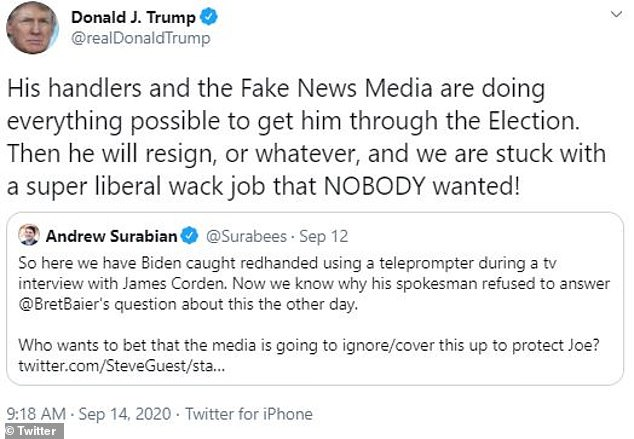 Trump retweeted former campaign aide Andrew Surabian who claimed Biden was 'caught redhanded'