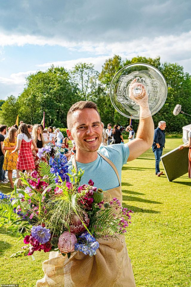 Reigning: One of 12 hopefuls will take home the desirable title of Bake Off champion, won last year by David Atherton (pictured)