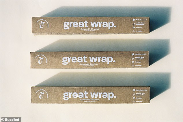 Great Wrap (pictured) is a cling wrap alternative is designed to reduce the amount of single use plastic used by businesses and households