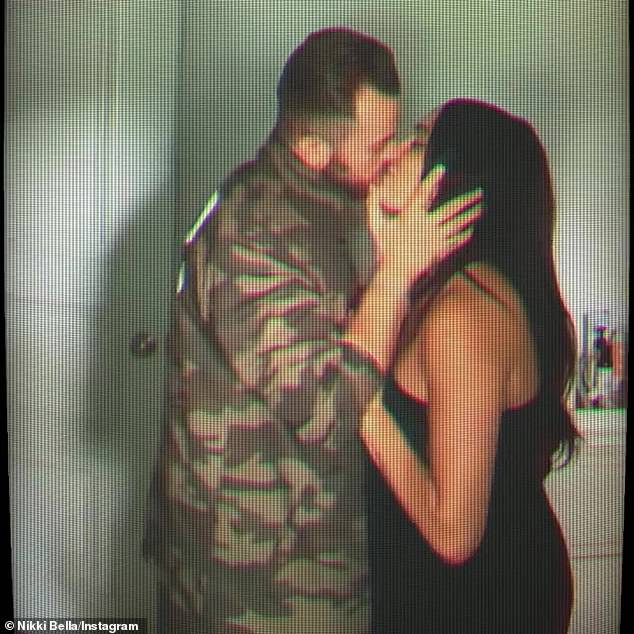 Pumped: And to celebrate her soon-to-be hubby's return to Dancing With The Stars, Nikki uploaded a steamy 'Hidden Cam' style video of herself and Artem to her Instagram page
