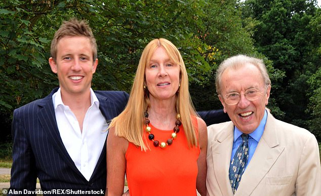 George Frost is pictured above with his motherLady Carina Frost and late father Sir David Frost