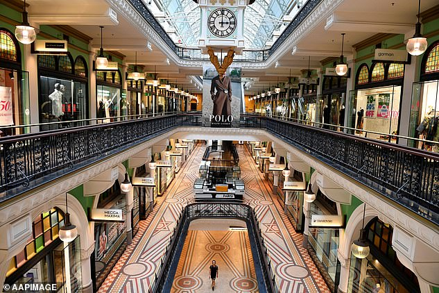 If the cuts proceed as scheduled the economy would lose $31.3billion, an average of 145,000 full-time equivalent jobs would be lost in 2020/21 and 2021/22. Pictured: A quiet Queen Victoria Building, Sydney, in April