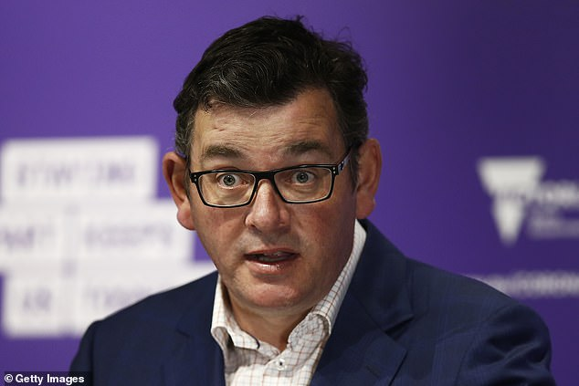 Ms Costa used thick strips of latex to mimic Mr Andrews' (pictured at a press conference on September 14) nose and eyelids, and black eyeliner to sketch the outline of his signature square-rimmed glasses