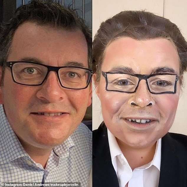 Dan, is that you? Shepparton makeup artist Evelin Costa (pictured right) transformed herself into Victorian Premier Daniel Andrews (left) with latex, cotton wool and theatrical cosmetics
