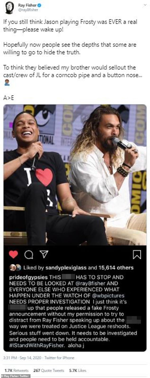 Fake news:Fisher also reiterated that the news of Momoa voicing Frosty the Snowman was always fake, despite it being widely reported in the press, in a tweet on Monday