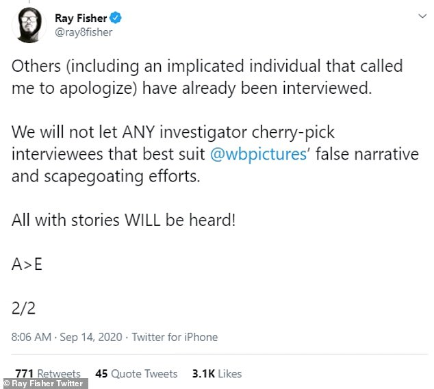 Stories:'Others (including an implicated individual that called me to apologize) have already been interviewed. We will not let ANY investigator cherry-pick interviewees that best suit @wbpictures' false narrative and scapegoating efforts. All with stories WILL be heard! A>E,' Fisher concluded