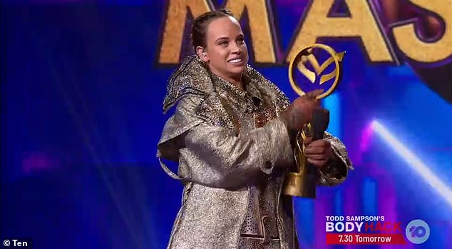 She did it:The Masked Singer Australia grand finale finally took place on Monday, crowning Neighbours star Bonnie Anderson, 25, (pictured) as the winner