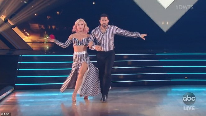 Fast feet: JesseMetcalfe, 41, and pro partner Sharna Burgess performed a quickstep for their first dance
