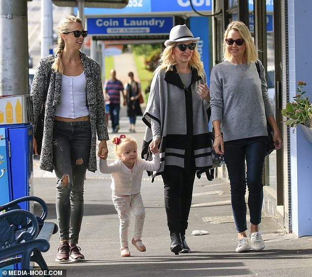 In 2016, Fifi Box confirmed her three-year-old Trixie is the daughter of Grant Kenny. Above, the mother and daughter hang out with Trixie's half-sisters Jaimi and Morgan Kenny