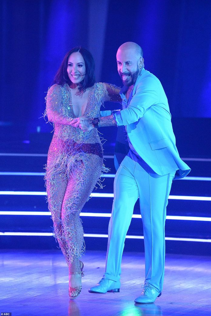 First dance: AJ McLean was teamed with pro dancer Cheryl Burke and they scored 18 for their first dance