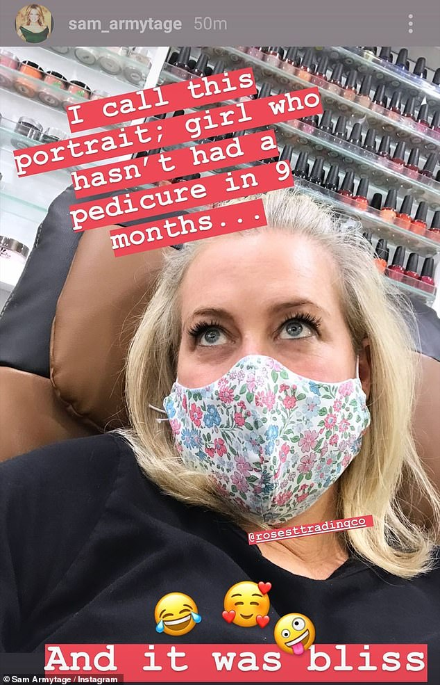 'It was bliss': Sunrise's Sam Armytage revealed on Tuesday she was visiting the nail salon to get her first pedicure in nine months