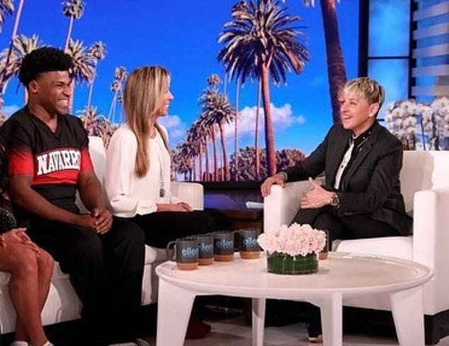 Harris became Cheer's break-out star, and later appeared on the Ellen Show as a guest presenter, interviewing celebrities at the Oscars (pictured above during a different appearance)