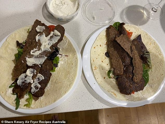 The woman, from Melbourne, served the sliced meat with wraps, fresh salad and garlic dip