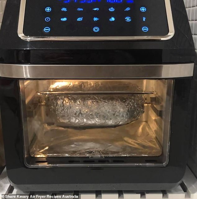 She baked the meat on the rotisserie for 30 minutes in the first round so the ingredients are cooked through, while holding its shape in the air fryer