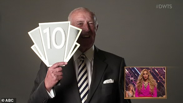 Checking in: Len Goodman, 76, appeared virtually during Monday night's premiere to congratulate Derek, encourage the competitors, and to give Tyra a '10' for her performance as host
