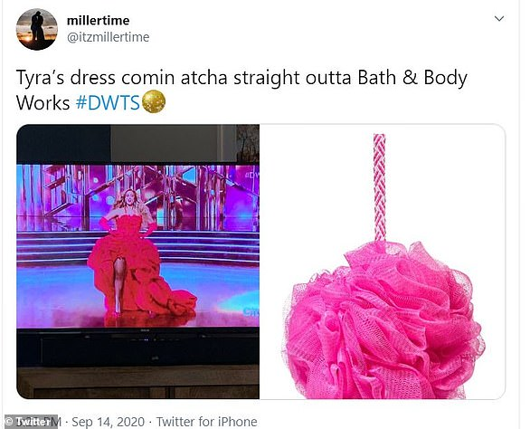 Familiar:Many compared Bank's scene stealing ensemble that she wore for her grand entrance to a 'Bath & Body Works' luffa