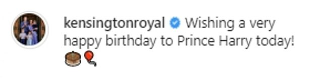 Prince William and Kate Middleton appeared eager to lay to rest any reports of a family rift and chose a light-hearted snap of Harry beating them both in a running race for their Instagram post. The image, taken in London in 2017, was accompanied by this simple caption