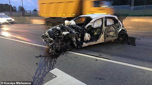 A 13-year-old took the keys to his father's car, leading police on a high-speed chase for around three hours, before finally crashing into a barrier on the motorway, wrecking the car (pictured)