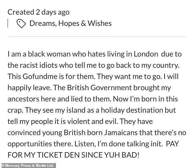 A description on her page (pictured) blasted racists who 'see my island as a holiday destination but tell my people it is violent and evil'