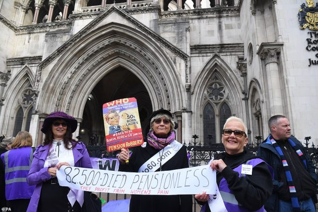Campaigners argued that the Government's increase of women's state pension age from 60 to 66 is discriminatory, unlawful and unfair (pictured, campaigners outside the Royal Courts of Justice in October 2019)