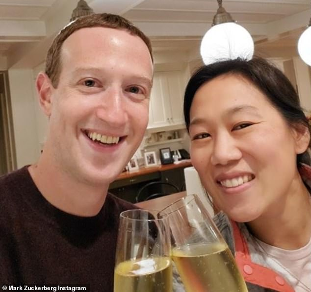 Mr Zuckerberg was given a 'gratuitously large, hooked nose and ghoulish appearance', according to the Campaign Against Antisemitism. Pictured, celebrating his anniversary with his wifePriscilla Chan