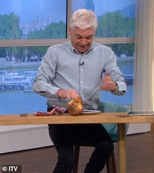Painful:To which the chef threw a freshly-cooked Yorkshire pudding to the host with his finger getting stuck in it