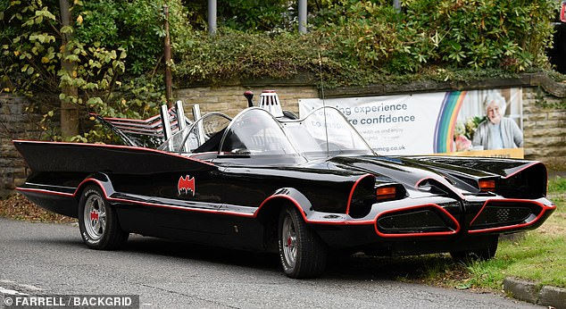 The vehicle, pictured above, is a replica of the original Batmobile - a sleek black vehicle that starred in the legendary film and TV series in 1966