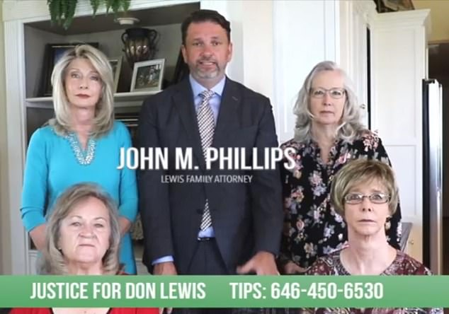 Lewis's three daughters Gale (back right), Lynda (front right) and Donna (back left), along with his former assistant, Anne McQueen (front left), made heartfelt pleas for information about his disappearance as they were joined by family attorney John Phillips