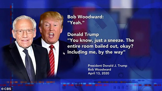 The conversation between Woodward (left) and Trump (right) came on April 13, a day that Trump boasted that he had the 'ultimate authority' to order states to reopen their economies, which he was publicly supportive of them doing