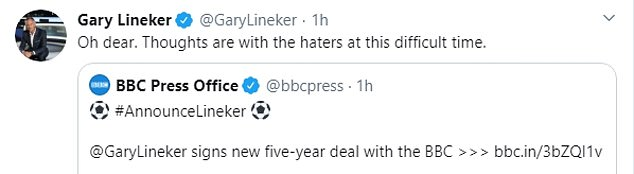 Lineker tweeted moments after the BBC announced his new deal and pay cut
