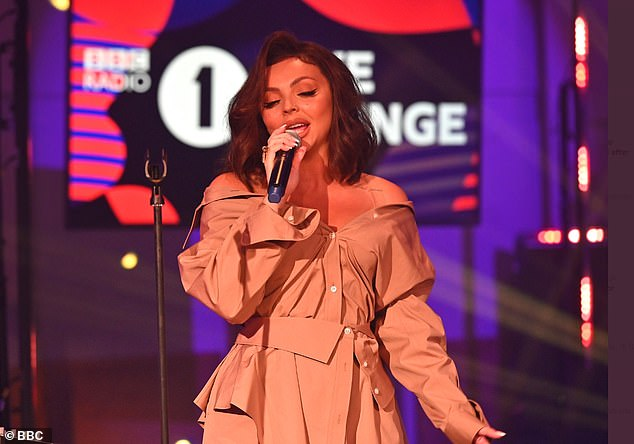 Emotional: A day earlier, the Little Mix singer, 29, suffered a panic attack during her Radio One Live Lounge performance with her band (pictured)