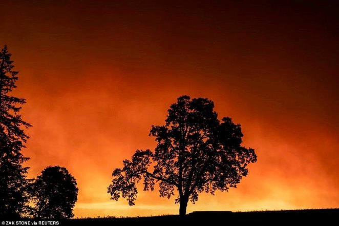 Red skies and smoke pictured in Salem, Oregon on September 8