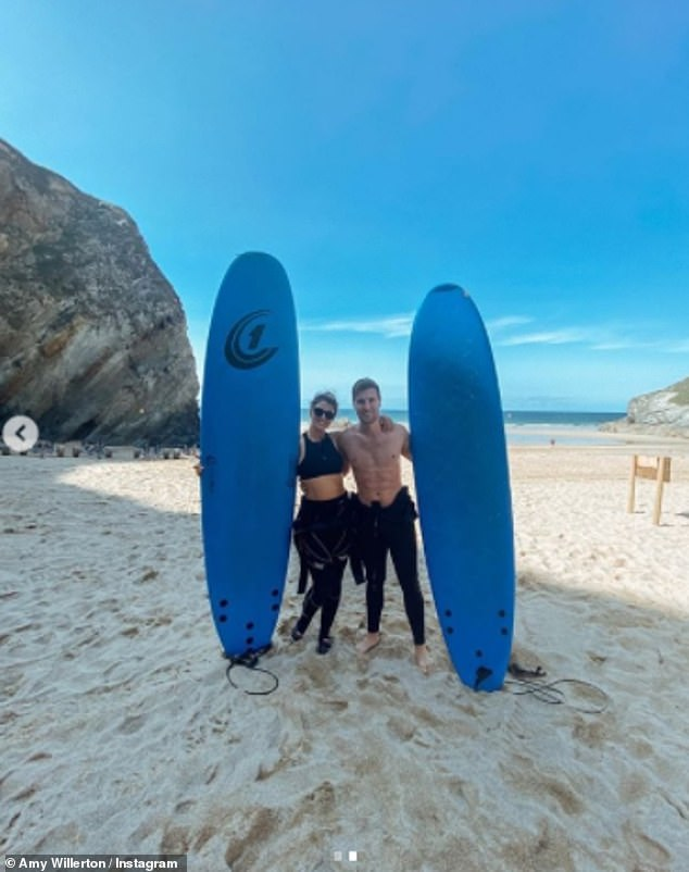 Fun times:While earlier this week, the stunning I'm a Celebrity star shared another stunning swimwear snap as she posed in a wet suit on the beach