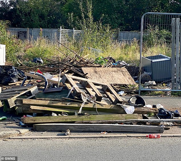 The driver dumped wooden pallets and off cuts of timber along with some scrap on the road