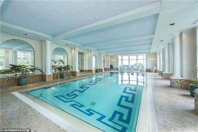 As well as the indoor pool (pictured), across a courtyard from the main house - or accessed via an underground tunnel - is an on-site leisure complex