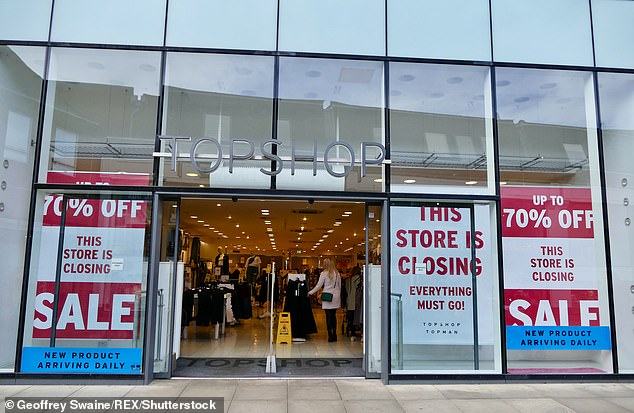 A branch of Topshop announces it's closure. Shops lie empty and boarded up in Royal Windsor Town as the decline of the High Street continues