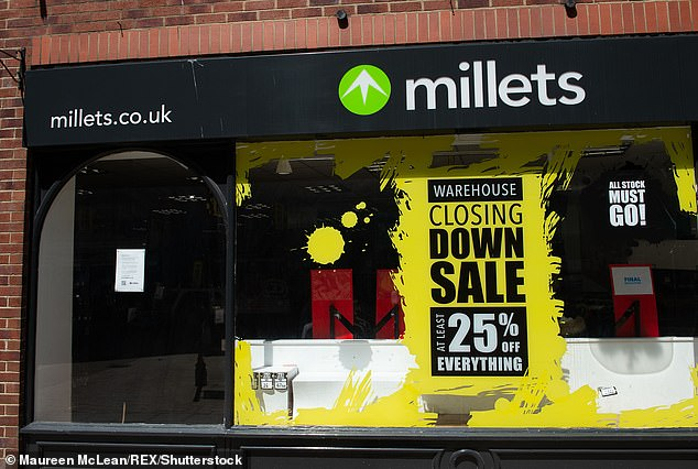 The Millets outdoors shop in High Wycombe, Buckinghamshire is closing down