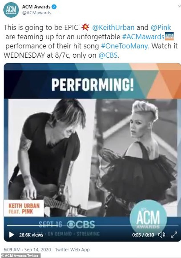 Airing Wednesday on CBS! Pink and Keith Urban will debut their new duet One Too Many at the Grand Ole Opry House in Nashville for the 55th Annual ACM Awards