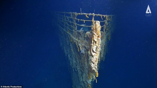 'The fact that so many people saw the aurora makes me confident that there was a space weather event happening,' space and atmospheric physicist Chris Scott of the University of Reading, who was not involved in the study, told Hakai magazine. Pictured, the bow of the Titanic looms out of the murky depths in her resting place off of the coast of Newfoundland