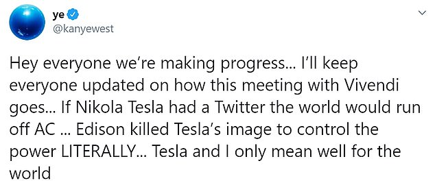 West later tweeted Tuesday that he was 'making progress' with the situation