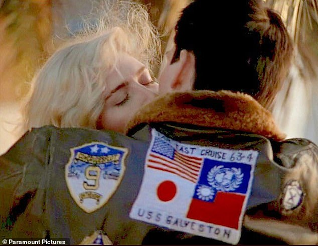 A shot from the original movie show's Tom Cruise's character wearing a jacket emblazoned with the flags of Japan and Taiwan, which China considers a breakaway province