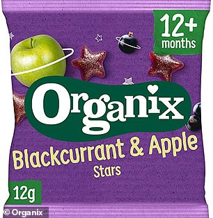 Organix Blackcurrant & Apple Stars has 65g of sugar per 100g. But it is served in 12g packets, containing 7.7g of sugar each. It's still almost the same as one iced doughnut