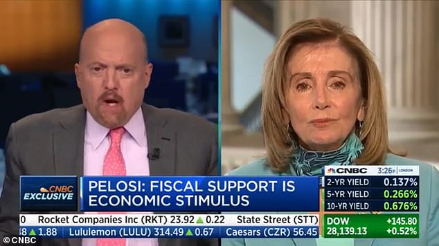 CNBC's Jim Cramer (left) called House Speaker Nancy Pelosi (right) 'crazy Nancy,' the nickname given to her by President Donald Trump. Cramer immediately walked back the comment